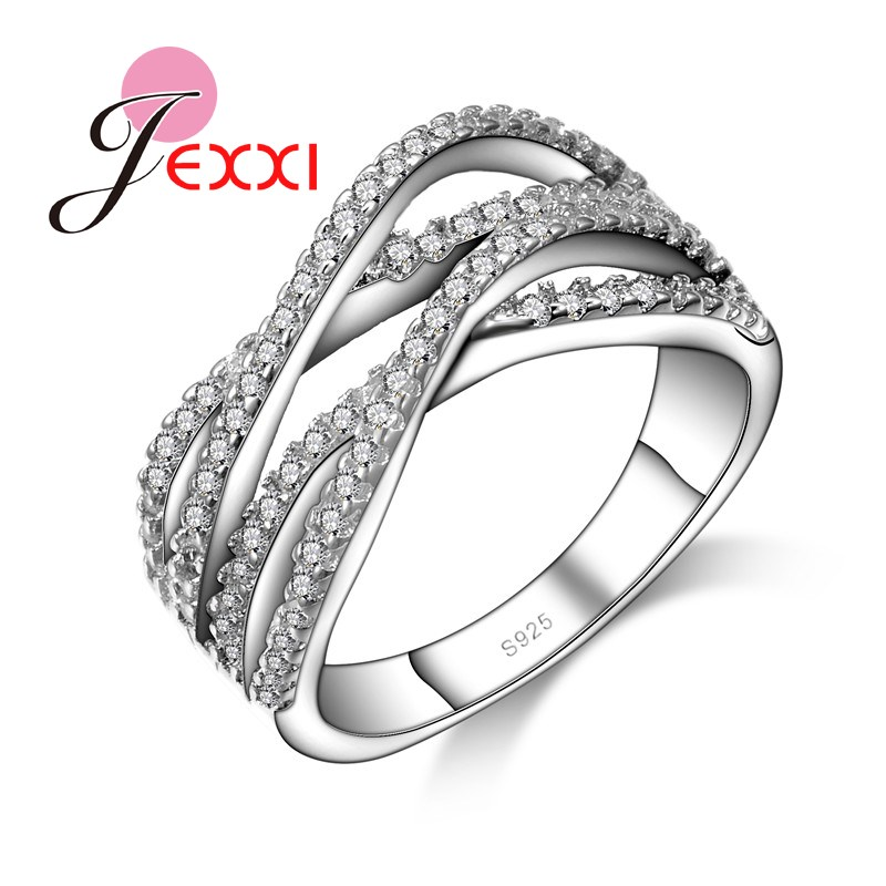 JEXXI Brand New Fashion Jewelry 925 Stamp Stainless Silver Rhinestone Cross Rings For Women Size 6 7 8 9 Party Finger Ring