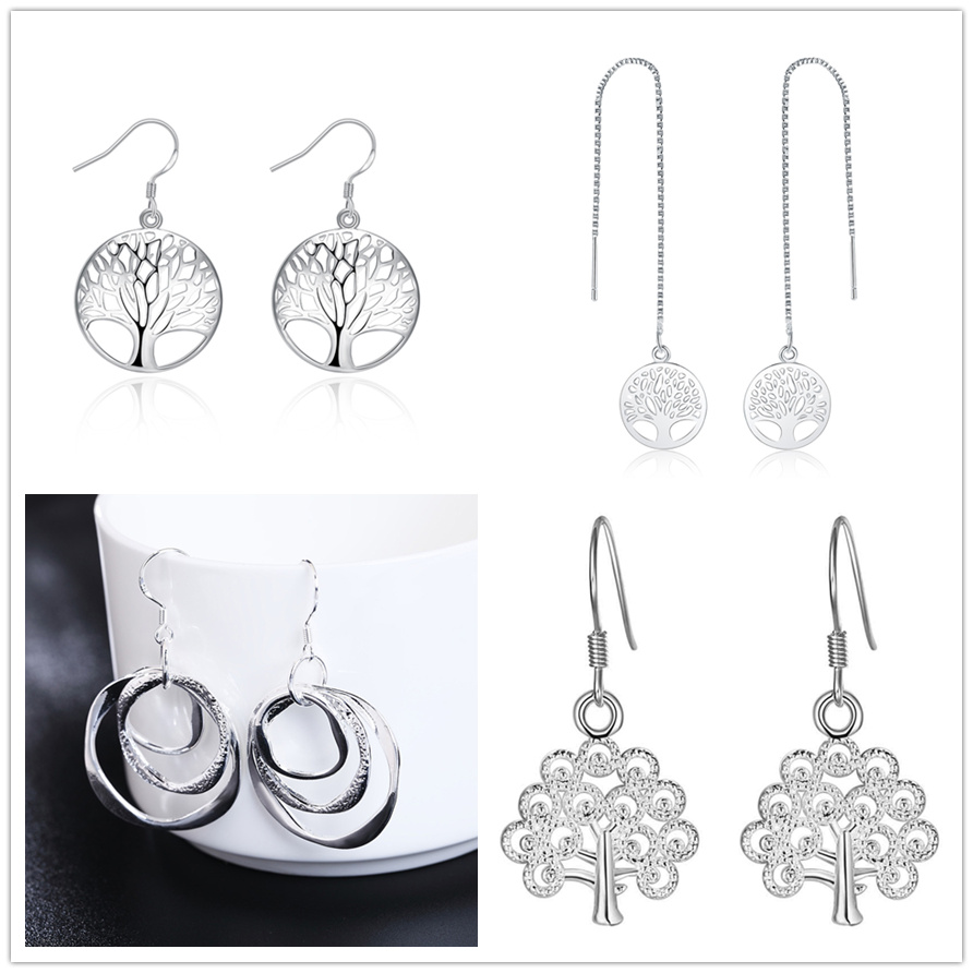 wholesale 4 pair set silver color fashion TREE charms solid earrings , women lady girl wedding Party jewelry Cute LE008