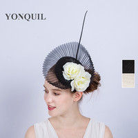 Sinamay Black Wedding Fascinator Base Hat Headband With Ivory Silk Flower High End Hair Clip Ladies