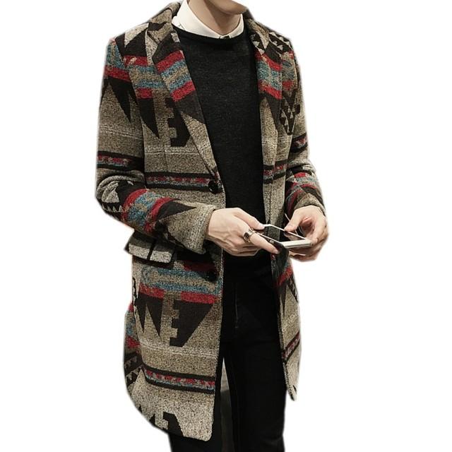 No outono e inverno de 2016 nos novos homens longo pano de lã casaco casaco de pano impresso
