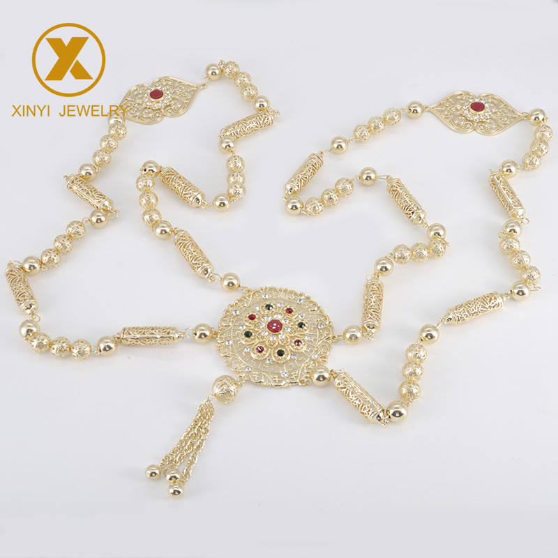 The Latest Popular Golden National Brand Design Of Bride's Necklace For Women's Wedding Chest Decoration