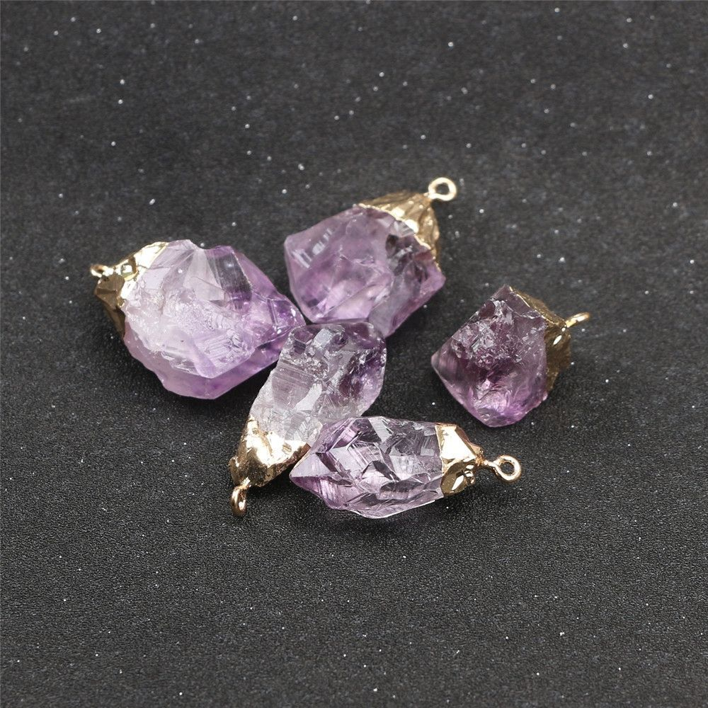 1PC Purple Natural Amethyst Gemstone Pendant Quartz Crystal Point Healing Stone Long Chain Necklace Amethyst Pendant Home Decor 10