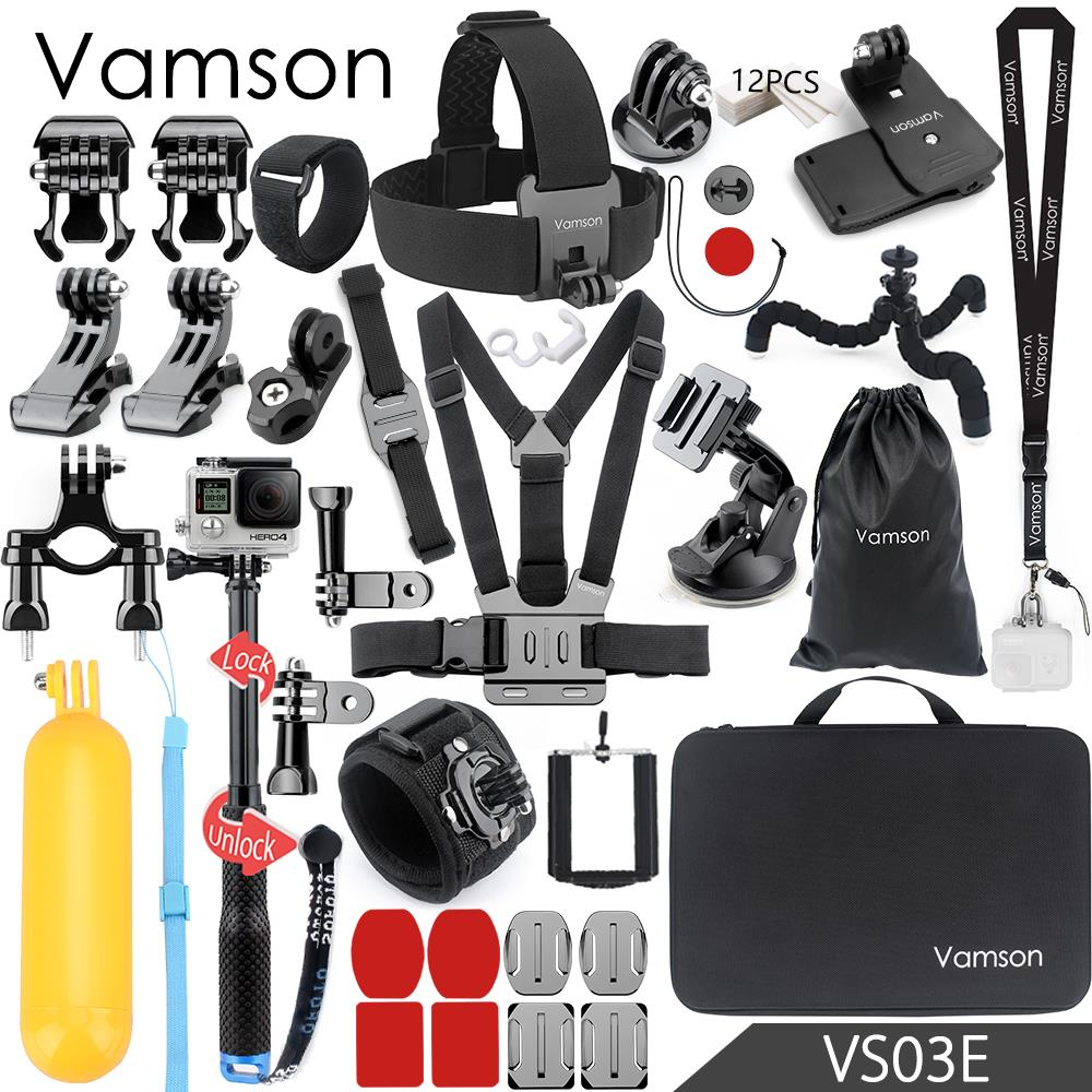 цена на Vamson for Gopro Hero 6 5 Accessories Set Large Collection Box Monopod for Gopro hero 5 4 for SJCAM for yi 4k Sport Camera VS03