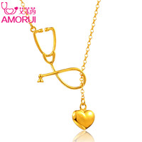 AMORUI Medical Stethoscope Lariat Heart Pendant Necklace Nurse Doctor Gold/Silver Color Gift Fashion Jewelry Bijoux Femme