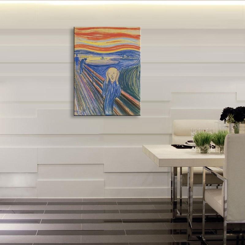 Peinture à l'huile Edward Munch hurlé huile toile peinture Photo peinture peint à la main mur photos pour salon Photo