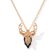 Fashion Christmas Jewelry Personality Vintage Silver Animal Elk Necklace Men and women Short Antler Metal Clavicle Chain