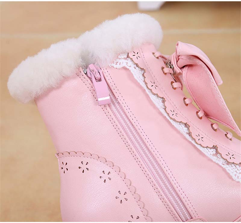Sweet Japanese Beauty Women Ankle Boots Winter New Lace Bow Snow Boots For Women Lace Up Platform Thick High Heels Lolita shoes (4)