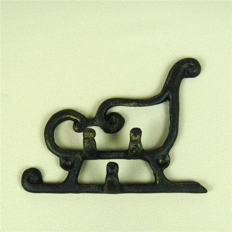 Cheap Sale Bronze Cast Iron Christmas Carriage Hook Wall Ornamental Metal Sled Model Key Holder Garage Widget Decor Handicraft Accessories Hooks & Rails