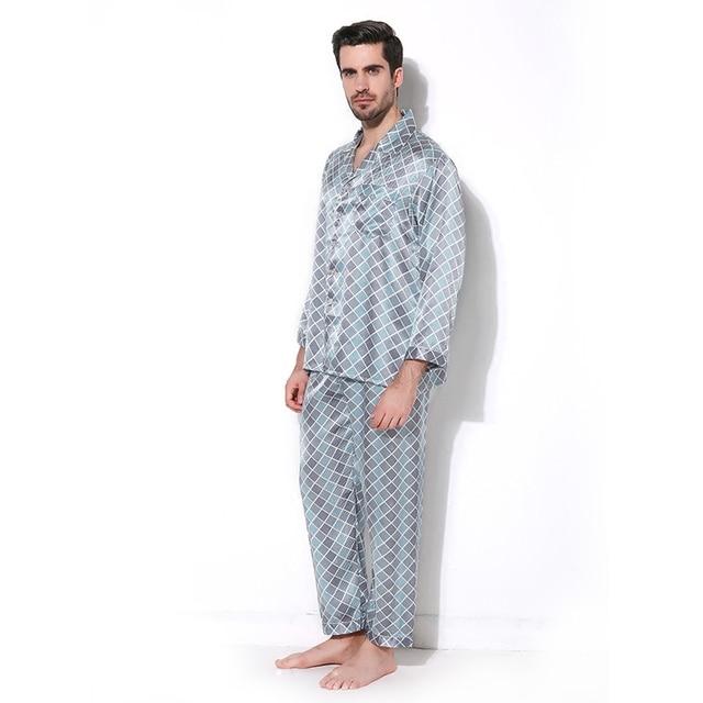 Роскошный Мужской Пижамы 100% Шелк С Длинными Рукавами Мужские Пижамы Пижамы Наборы Брюки Осень Мужчины Шелковые Пижамы Набор CMR16065