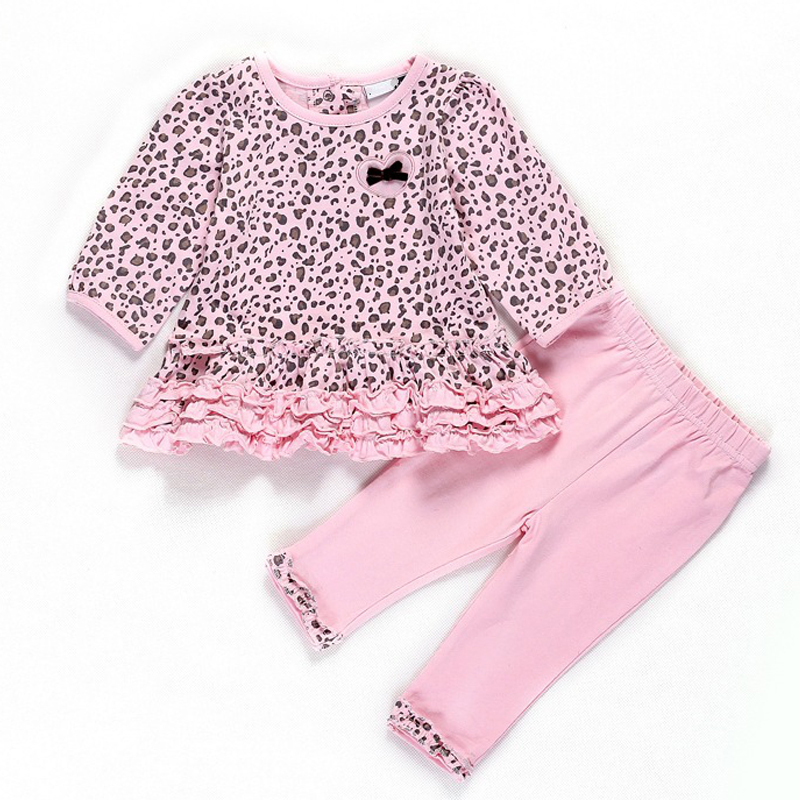Winter Baby Girls Clothes Cotton Newborn Clothing Set Leopard Top+Pant  Autumn Infant Clothes Baby Clothing Set Pink Girls Suit cotton baby rompers set newborn clothes baby clothing boys girls cartoon jumpsuits long sleeve overalls coveralls autumn winter
