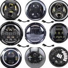 "7"" 60W LED Headlights H4 Hi Lo Beam Headlamp Projector Angel Eyes Car Light Motorcycle Headlamp for Jeep CJ/Wrangler JK/Harley"