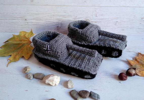 Crochê Tanque Tanque de Chinelos Chinelos de Presente do dia Dos Namorados Presentes Presentes do Namorado Colega Tankschuhe Tanque Panzer 1 Chinelos Sapatos
