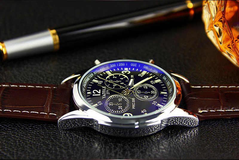 Modernos relojes analógicos de cuarzo de imitación de cuero para hombre, relojes de pulsera de Rayo Azul para hombre, relojes para hombre de 2018, relojes de marca superior de lujo, reloj informal