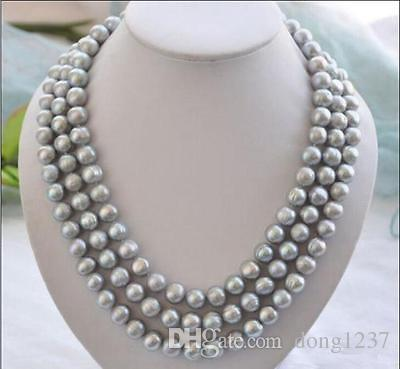 beautiful AAA 8-9mm south sea gray pearl necklace >>> free shipping