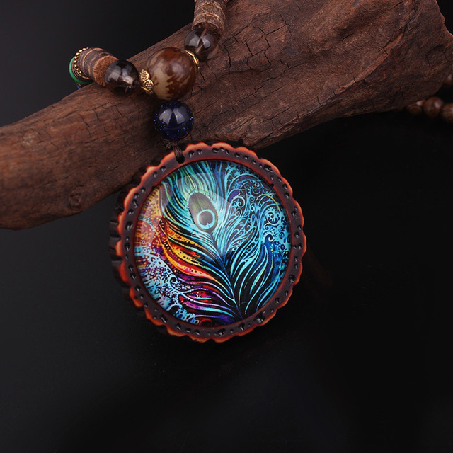 Peacock Feather Wooden Necklace