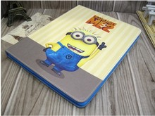 Arrival Cute Cartoon Despicable Me Minion Flip Wallet Card Stand Leather Cases Smart Cover For Apple Mini 2/3 Ipad Holster Items