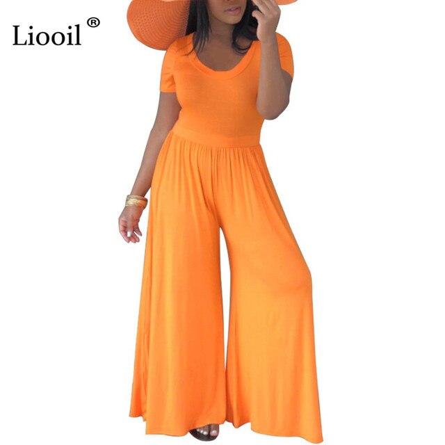 51555e2d386a Liooil negro chaquetas para mujeres 2019 de moda O cuello alto cintura Sexy  mujer prendas mono amplia pierna Pantalones
