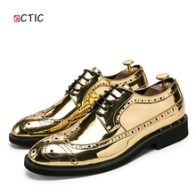 Ectic Patent Leather Party Men Shoes Lace up Solid Color Print Carve Derby Dress Shoes Wedding Focus Flower Print Dropshipping