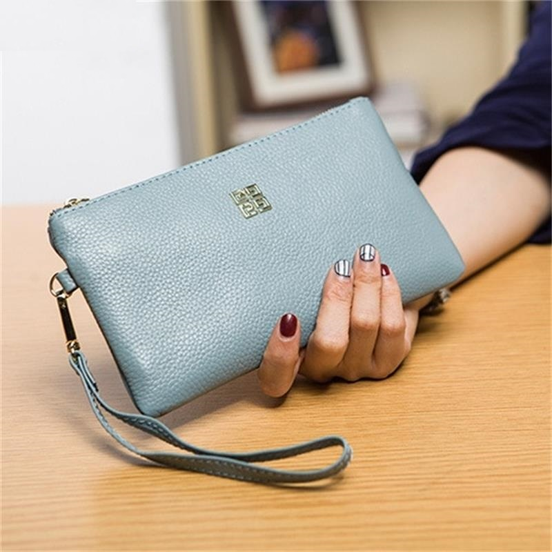 2017 Hot Brand Women Clutch  Handbag Genuine cow Leather Wallets Female Purse Iphone6 Plus Holder Evening Bag with Handle S602