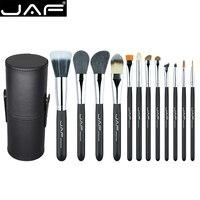 JAF 12Pcs Professional Makeup Brushes Set Face Powder Foundation Eye Cosmetic Brush With Leather Holder Case