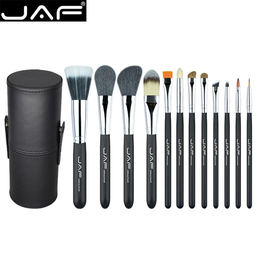 JAF 12Pcs Professional Makeup Brushes Set Face Powder Foundation Eye Cosmetic Brush With Leather Holder Case maquiagem kits