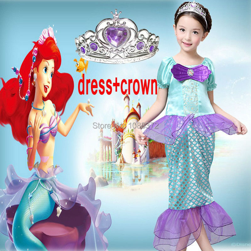 The Little Mermaid Costume baby girl clothes Ariel Fancy Princess Cosplay Dress For Age 3-10 party dresses princess ariel dress halloween costumes fancy the little mermaid ariel cosplay costume mermaid costume green party dress
