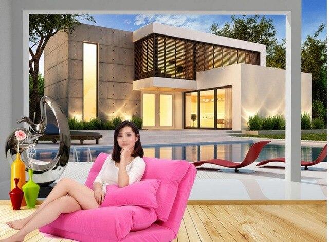 Vlies tapete Dekoration moderne villa gebäude schwimmbad 3d tapete ...