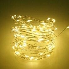10 м DIY медный провод гирлянда светодиодный светильник s гирлянда на батарейках праздничный Сказочный светильник новогодний декор Домашний Светильник на цепочке PD049