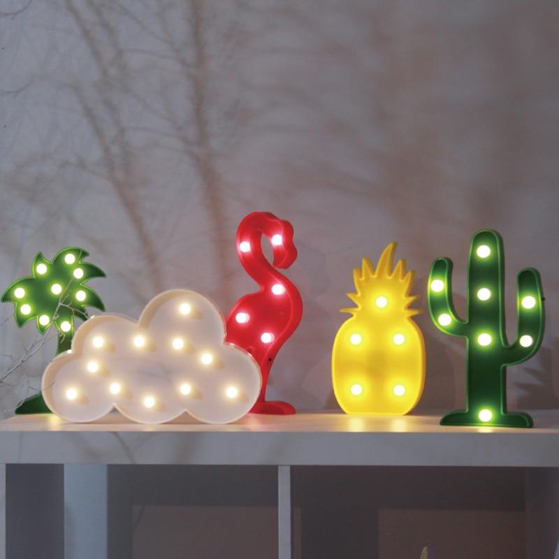 Cloud Cute Switch Pineapple Cactus Flamingo Led Night Light Motion Sensor Circle LED Battery Nightlight Desk