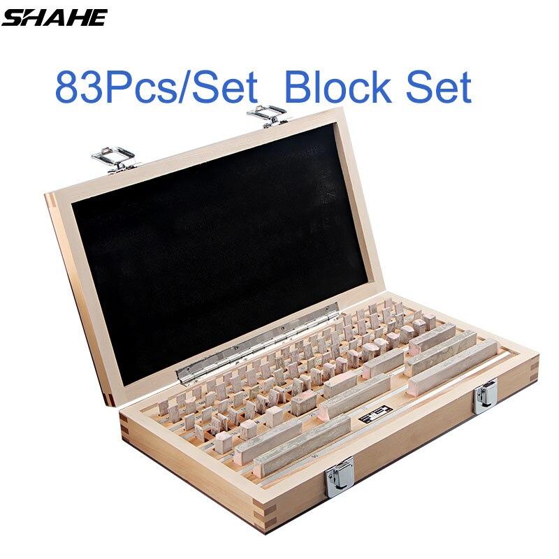 Shahe 83 pcs/ensemble 1 grade 0 grade D'inspection Bloc Jauge Test Étrier Blocs Mesure Instruments