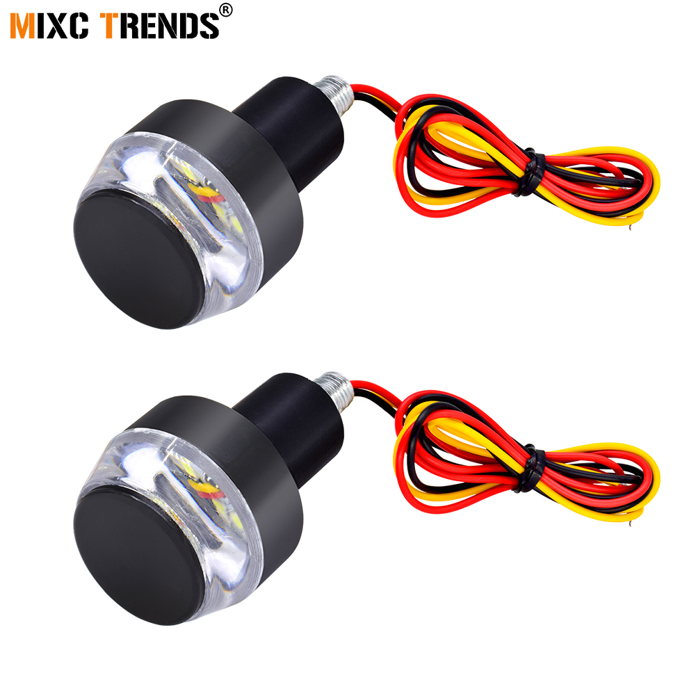 2Pcs Led Motorcycle Handlebar Turn Signal Indicators Blinkers Light 22mm Motorbike Handle Bar Ends Side Marker Flasher Lamp 12V