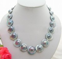 Stunning! 18MM Grey&Black Mabe Pearl Necklace