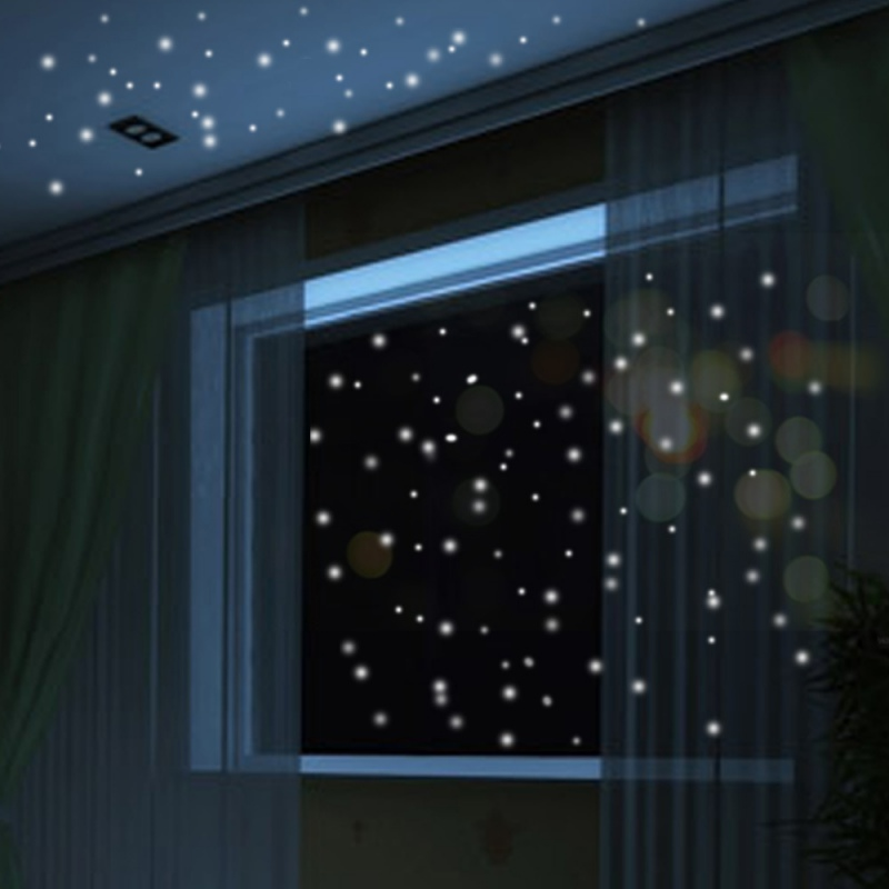 Night Dots Room Holiday Decoration 12 Halloween Luminous 3D Creative Hair Stickers Adhesive Dots and Moon for Starry Sky
