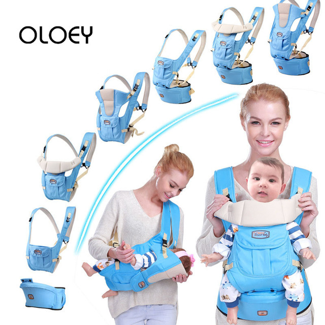 OLOEY Baby Carrier 7 In 1 for 0-36m Infant Toddler Ergonomic Sling Backpack Bag Gear with Hip Seat Wrap Newborn Waist Stool Belt