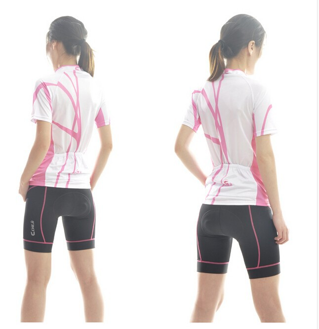 New-Pink-White-Cycling-Wear-Team-CHEJI-Women-Cycling-Jersey-Short-Sleeve-Pants-Girl-s-Fashion
