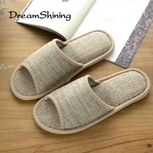 DreamShining New  Spring And Summer Home Wood Flooring Non-Slip Slippers Tendon  Natural Flax Slippers Indoor Home
