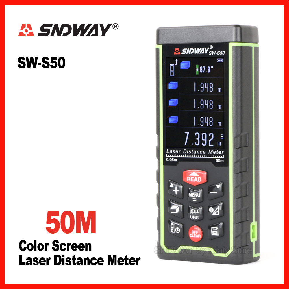 Sndway color screen 50m laser range finder distance tape measure roulette meter trena rangefinder Electronic ruler tool measure ремень modis modis mo044dbwae28