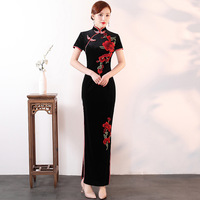f00b4f51d6409 Fashion Velour Party Cheongsam Oriental Evening Qipao Dress Chinese Long  Style Women Elegant Long Gown Vestido