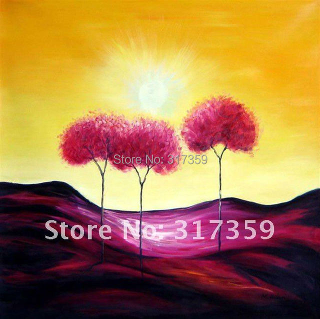 Free shipping Handpainted wholesale canvas art landscape abstract oil paintings No framed red  abstract acrylic painting
