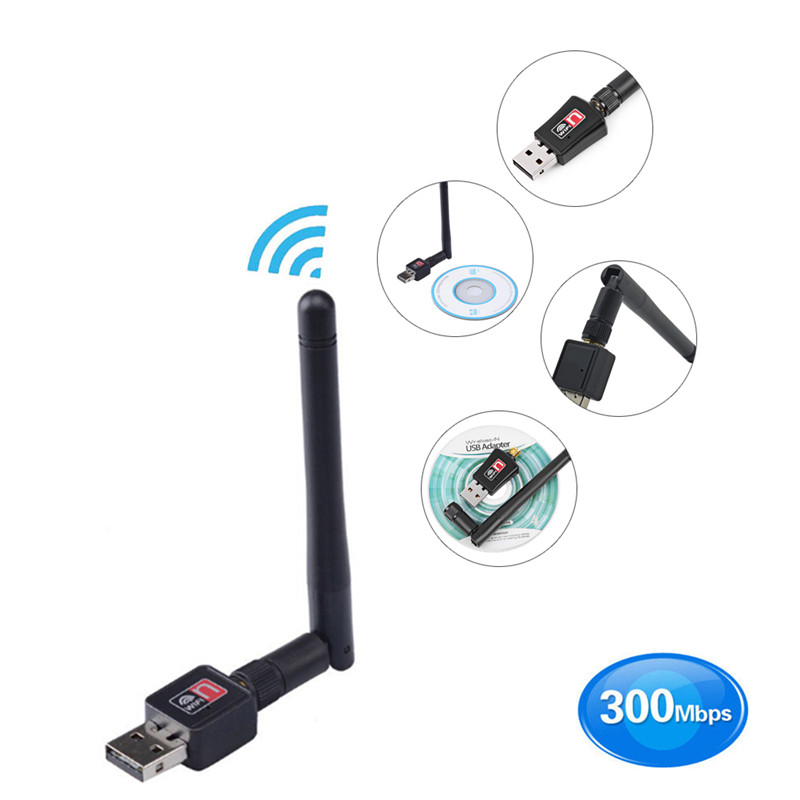 Mini USB Wifi Adapter 600Mbps Dual Band 2.4/5Ghz Wireless w/Antenna 802.11AC High Speed USB Lan Ethernet Networking