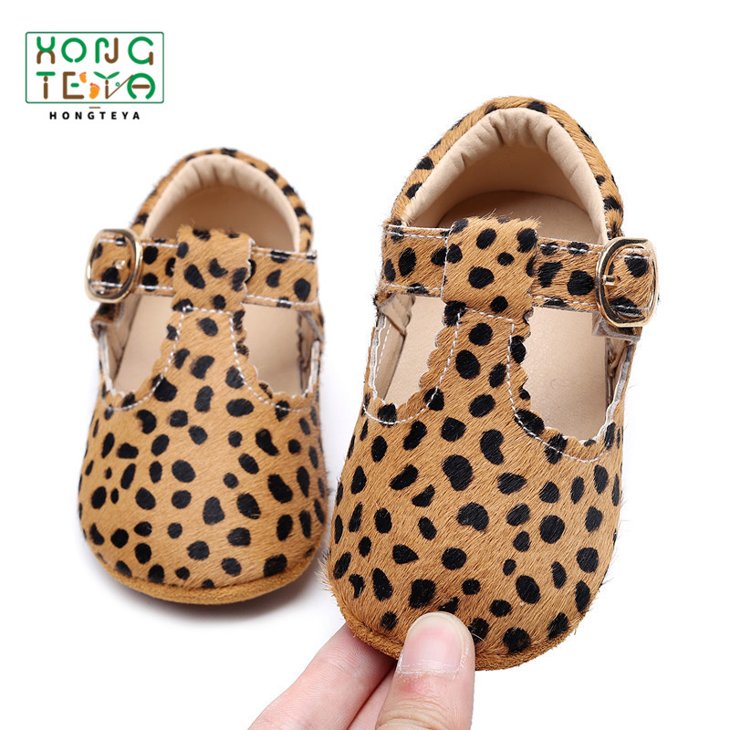 hot sale new Genuine Leather Baby shoes Leopard print Girls Hard sole Boys First walkers T- bar summer Baby moccasins