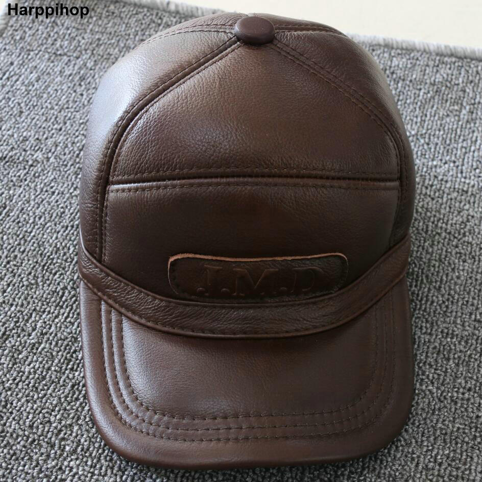 Harppihop New Men's 100% Genuine Leather Baseball Cap /Newsboy /Beret /Cabbie Hat HatS/brand Hat Caps with fur inside aorice winter genuine sheepskin leather hat brand new men s warm earmuffs hat man baseball caps leisure fashion brand hats hl030