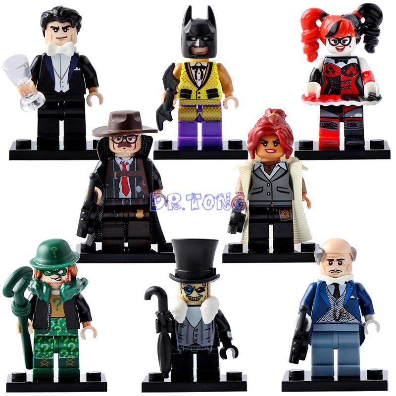Dr.tong 2018 Batman Movie Super Heroes Firgures Batman Iron Man Deadpool Avengers Harley Quinn Joker Mini Building Block Toys Model Building
