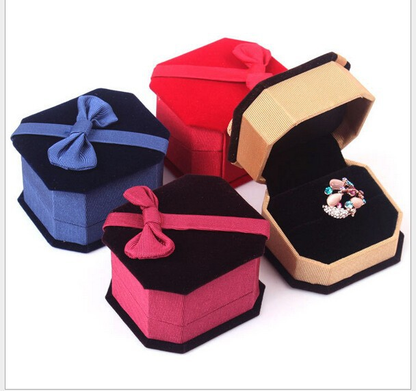 High end jewelry jewel case eight square Velvet box bowknot