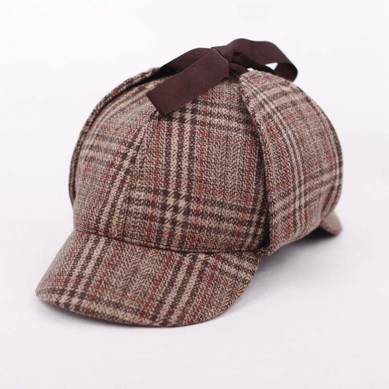 SHOWERSMILE Sherlock Holmes Hat Unisex Winter Wool Berets For Men - Kläder tillbehör - Foto 6