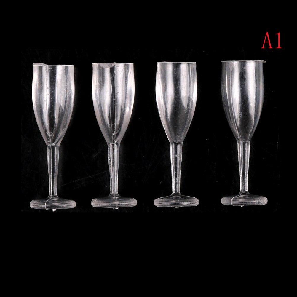 4pcs Dollhouse Miniature Wine Drink Cups Goblet Kitchen Dinnerware Plastic 1:12