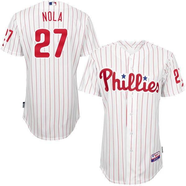 MLB Mens Philadelphia Phillies Aaron Nola Baseball White/Red Road 6300 Player Authentic Jersey