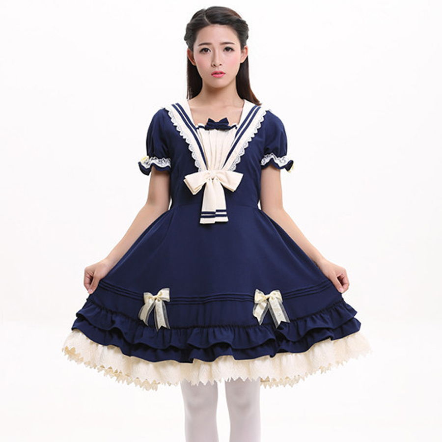 Zomer dames katoen Vintage lolita jurk Dames gothic college prinses - Dameskleding