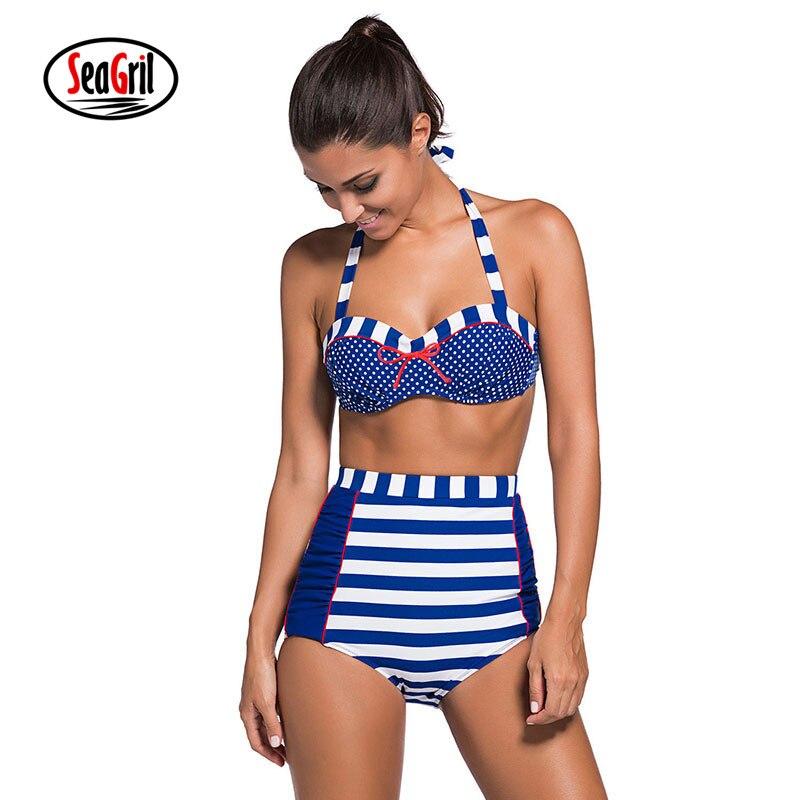 SeaGirl Women Sexy High Waist Retro Push Up Bikini Seti Padded Brazilian Swimwear Swimsuit Bathing Suit Beachwear LC41931