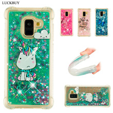 LUCKBUY For Samsung Galaxy A8 Plus Case Luxury Dynamic Glitter Liquid Soft Phone for 2018  Anti-knock Cover